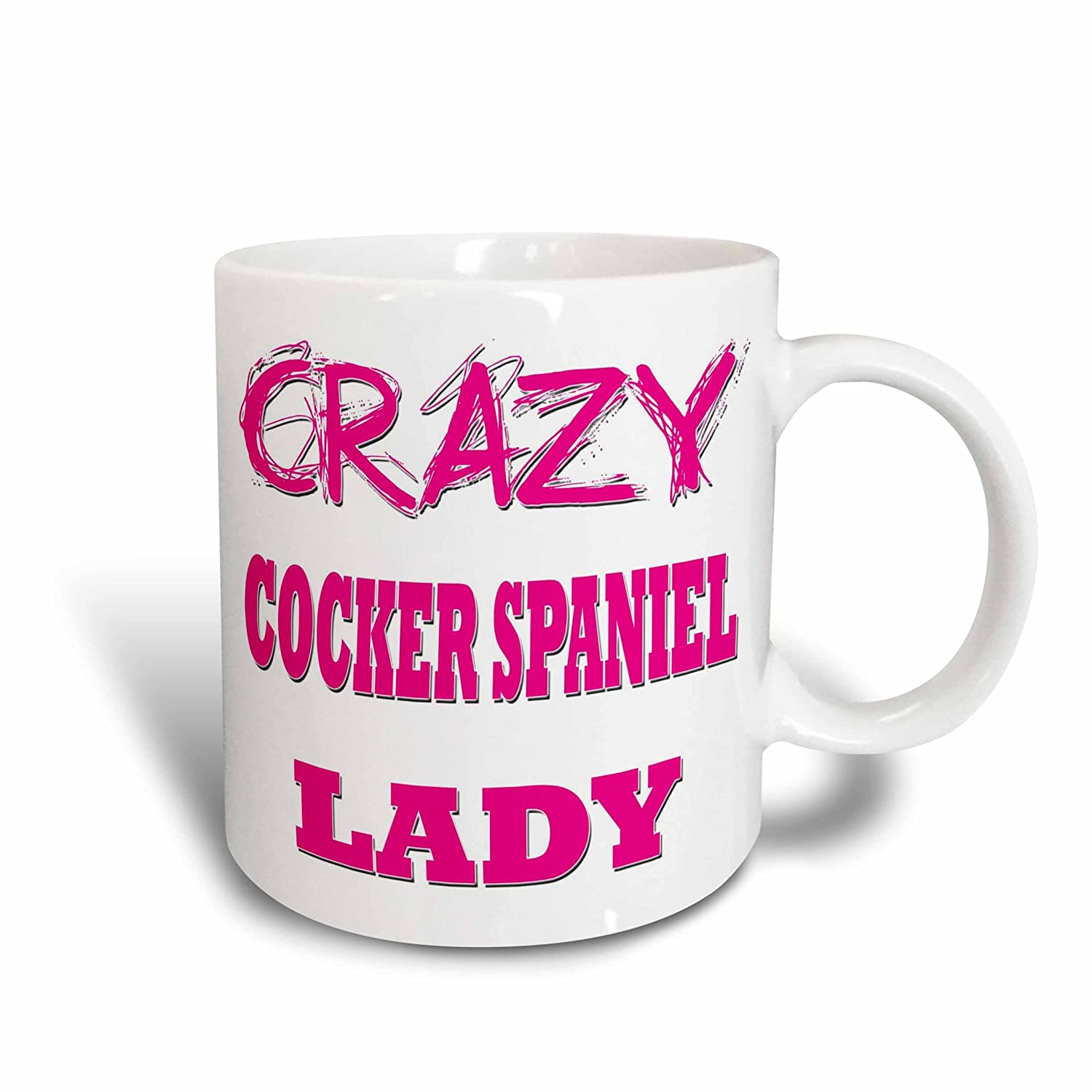 3dRose 174990/_1 Crazy Cocker Spaniel Lady Ceramic Mug 11 oz White