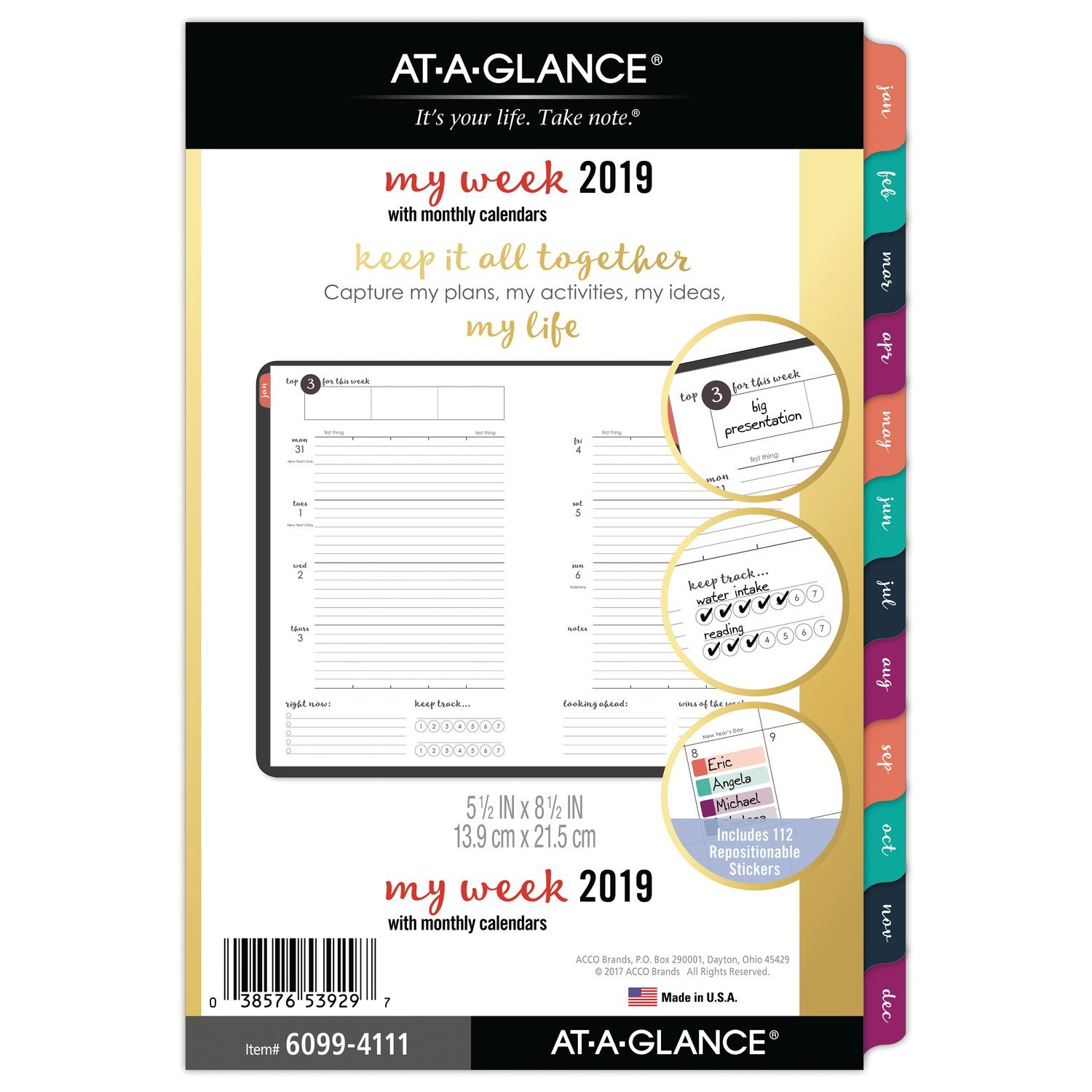 AT-A-GLANCE 2019 Weekly & Monthly Planner Refill, 5-1/2'' x 8-1/2'', Desk Size 4, Loose Leaf Harmony (6099-4111)