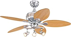 Westinghouse Lighting 7233100 Xavier Indoor Ceiling Fan with Light, LED, Brushed Nickel