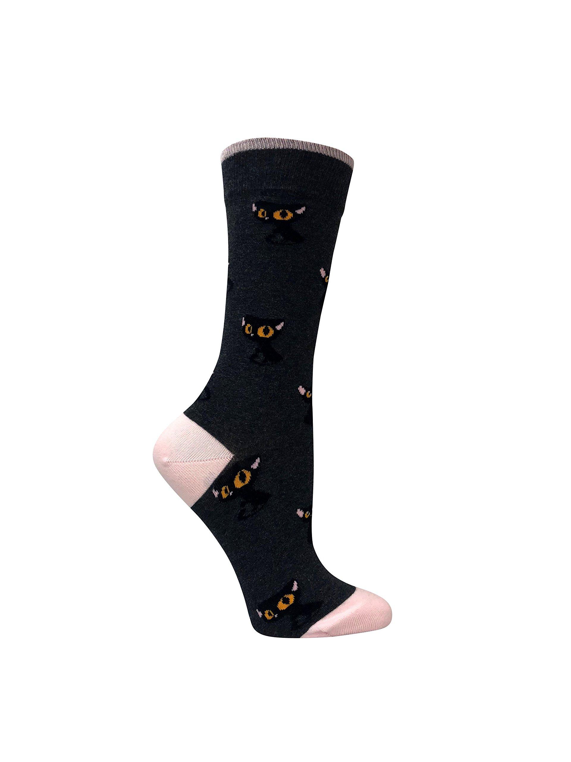 Cat Lover - Premium organic cotton women's gray crew sock with cats design.
