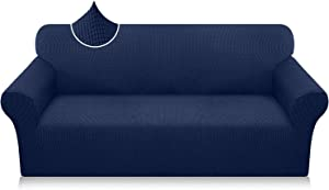 Luxurlife Super Stretch Sofa Covers Stylish Couch Covers for 3 Cushion Couch Upgraded Modern Sofa Slipcover for Dogs Pets Non Slip Furniture Protector with Elastic Bottom (Large, Navy Blue)