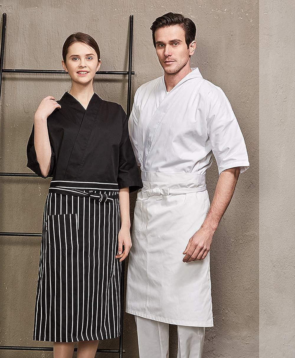 XINFU Chefs Japanese Kimono Unisex Uniform Short Sleeved Working Clothes Kitchen Restaurant Chef Jacket
