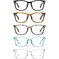 CCVOO 5 Pack Blue Light Blocking Reading Glasses Women/Men, Anti UV Ray Readers Fashion Nerd Eyeglasses with Spring…