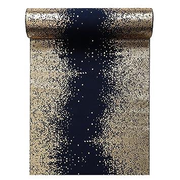 Tischlaufer Metallisiert Rand Blau Gold 28cmx3m Tischband