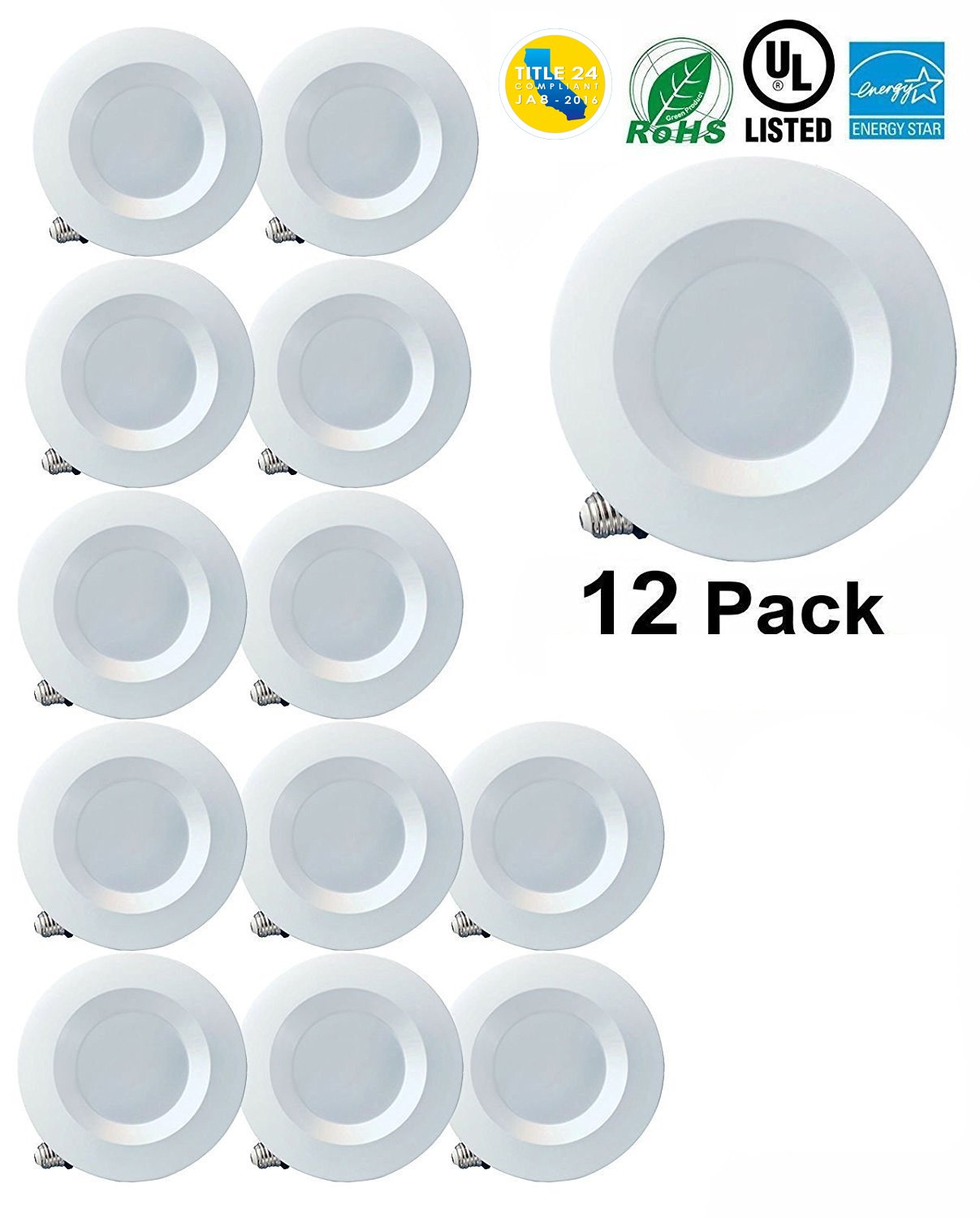 5'' / 6'' Dimmable LED Downlight Smooth Trim, 1100 Lumens, 4000K Cool White, Recessed Retrofit Lighting Trim, 15W (120W Replacement), ENERGY STAR UL Listed,TITLE 24 JA8 2016 Compliant 16 Pack