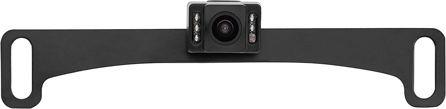 Black Concealed License Plate Backup Camera with Night Vision and Active Parking Lines BOYO VTL17IRTJ