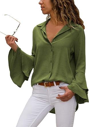 Aleumdr Mujer Blusa de Ofcina Mangas largas Camisa con Botón de Flip Collar Camiseta de Moda Verde Size M: Amazon.es: Ropa y accesorios
