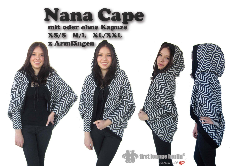 Nana Cape Nähanleitung mit Schnittmuster für Umhang oder Poncho in 3 ...