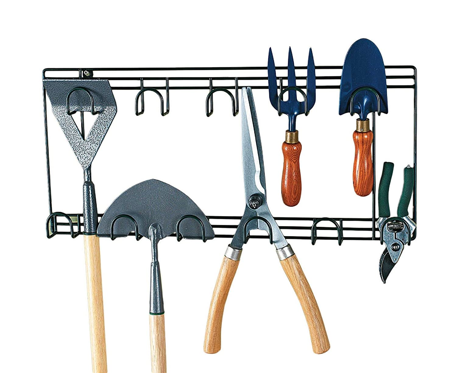 Garden Tool Double Rack Wall Garage Organiser Holder DIY Storage 2 Rows Hooks MySmartBuy
