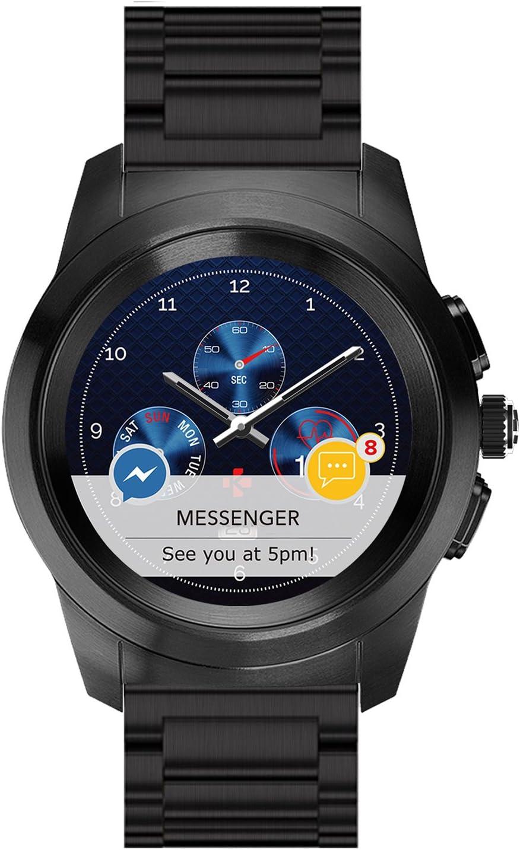 MyKronoz ZeTime Regular Elite Hybrid Smartwatch 44mm with Mechanical Hands Over a Color Touch Screen – Brushed Black/Metal Link