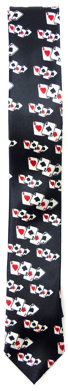 Krawatte schwarz Karten Motiv klein
