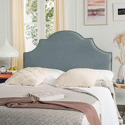 Safavieh Hallmar Sky Blue Upholstered Arched Headboard