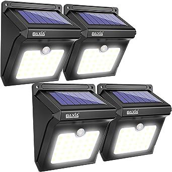BAXiA Luz Solar Jardín, Luces Solares LED Exterior Impermeable, Focos LED Exterior Solares con Sensor de Movimiento, Lámparas Solares para Jardín Muros Exteriore Patios Terrazas: Amazon.es: Iluminación