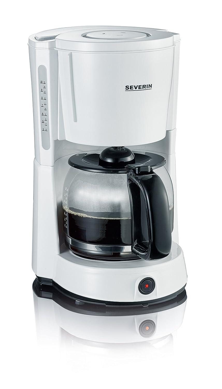 SEVERIN KA 4497 Cafetera para filtros de Café Molido, 10 tazas incluye jarra de cristal, blanco/negro