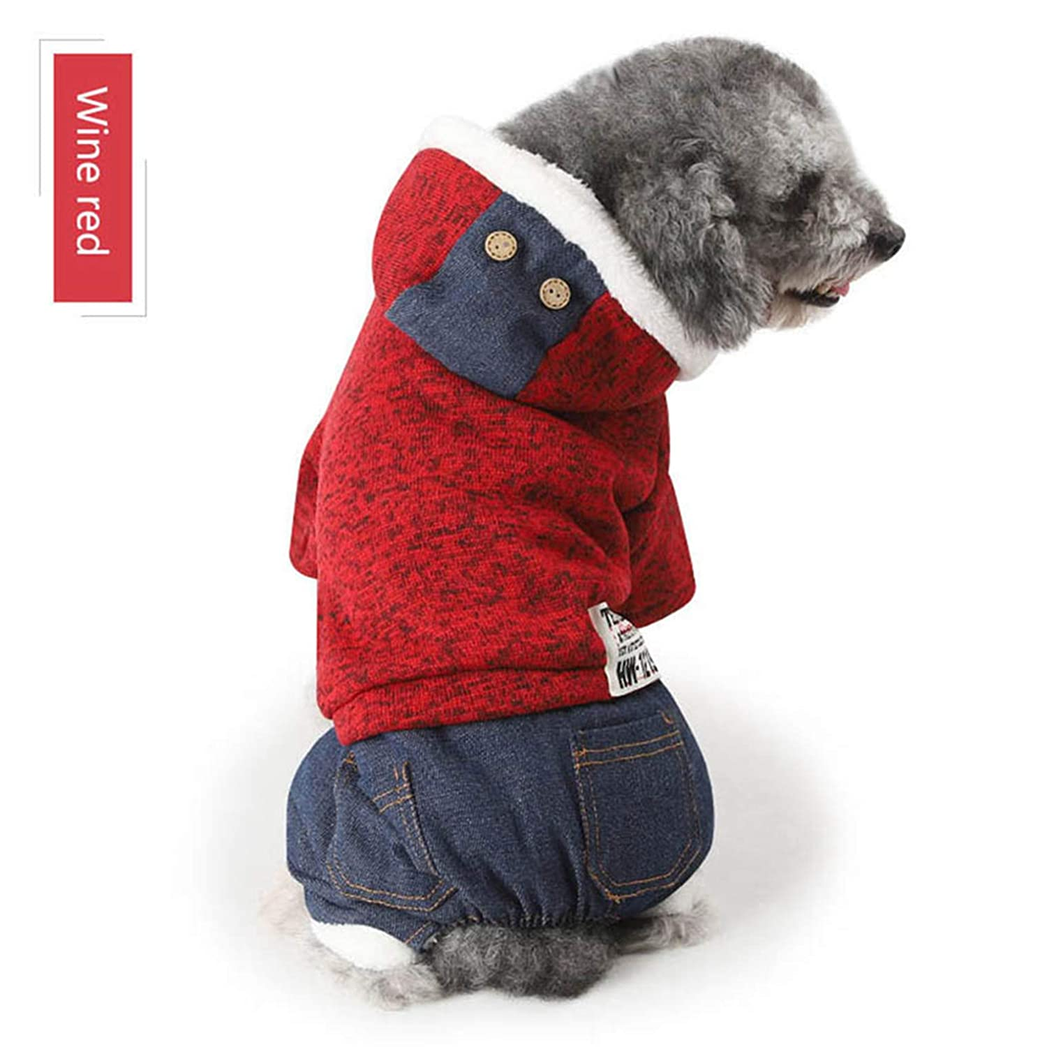 RED S RED S SENERY Winter Pet Dog Clothing Coat,Cats Knit Craft Print Soft Cotton Padded Clothes Puppy Coats Jackets Teddy Supplies
