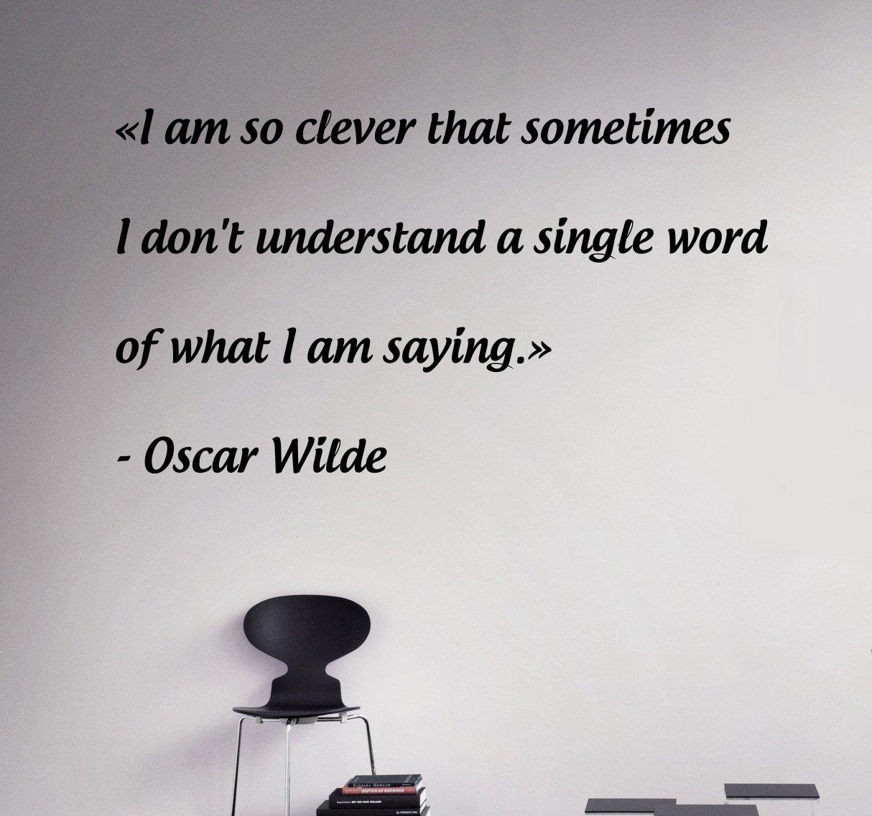 Quotes oscar wilde wall decal self deprecation vinyl sticker custom home interior living room decor 8qfm amazon com