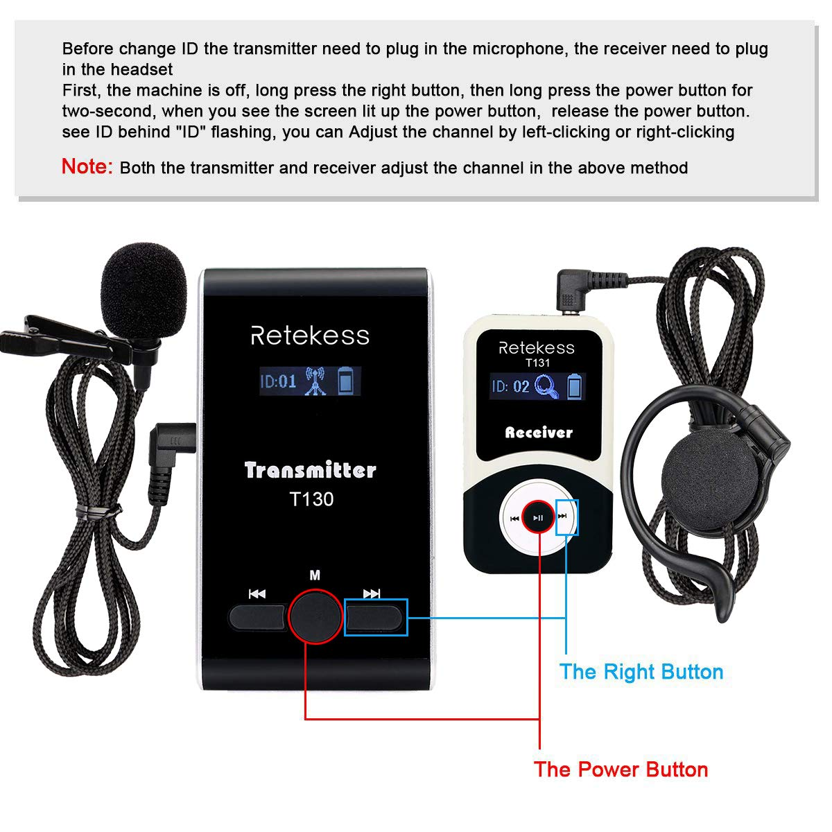 Retekess T130 99 Channel Wireless Tour Guide System Microphone Earphone Headset Church Translation System for Church Interpretation Wedding Training Court (1 Transmitter and 15 Receivers) by Retekess  (Image #3)