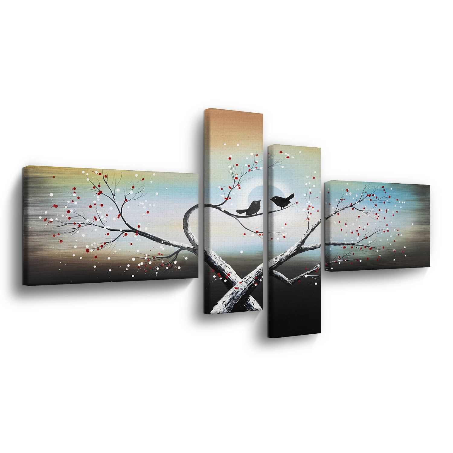 4 Panels Love Birds on Tree Branch Oil Paintings Animals Landscape Giclee Canvas Wall Arts Prints Modern Contemporary Artwork for Home Decor,Stretched and Framed,Large Size