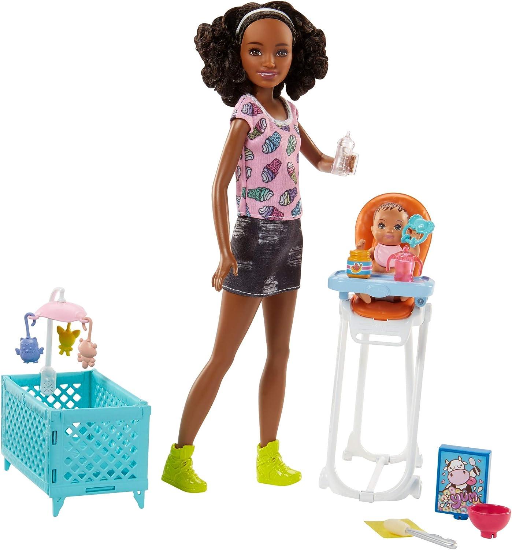 Barbie Quiero Ser niñera, muñeca con bebé, trona y cuna (Mattel FHY99)