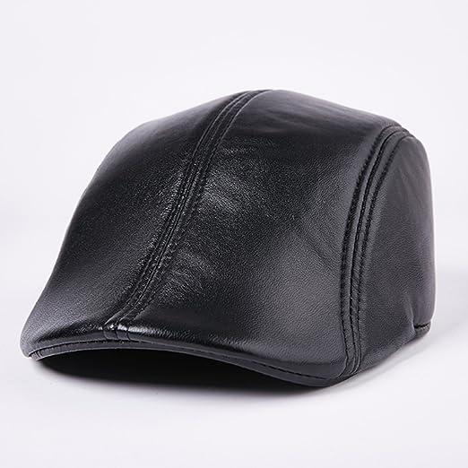 W.Z.H.H.H Sombrero Sombrero de Cuero Piel de Oveja Hombre Invierno ...