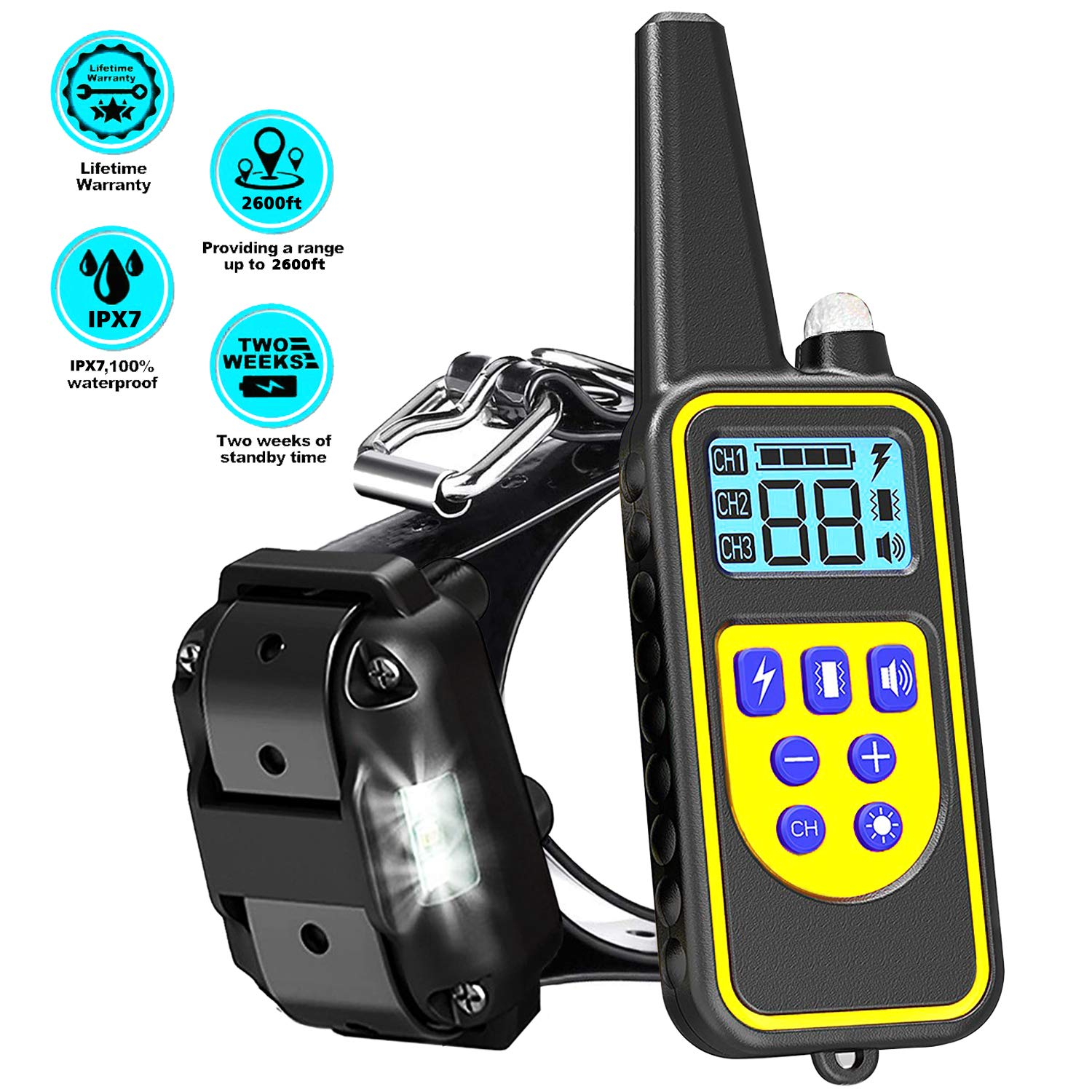 LINNSE Shock Collar for Dogs, Dog Shock Collar with Remote Control for 2600ft Range 100% Waterproof & Rechargeable Dog Training Collar with Remote for Dogs