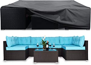 STARTWO Patio Furniture Covers 100% Waterproof, 110x84x28 Inch, Outdoor Table Chair Covers Sectional Couch Protector with Buckle Straps, UV Protection Rip Resistant Patio Set Cover