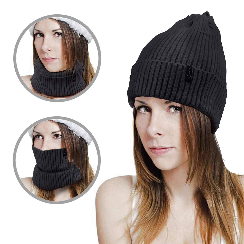 fa1df4b456f Letlar 3 in 1 Ponytail Beanie Hat Winter Warm Scarf Knit Beanie Skull Hat  Men Ponytail Headband Women s Earband Slouchy Stretch Beanie Open Top Messy  Bun ...