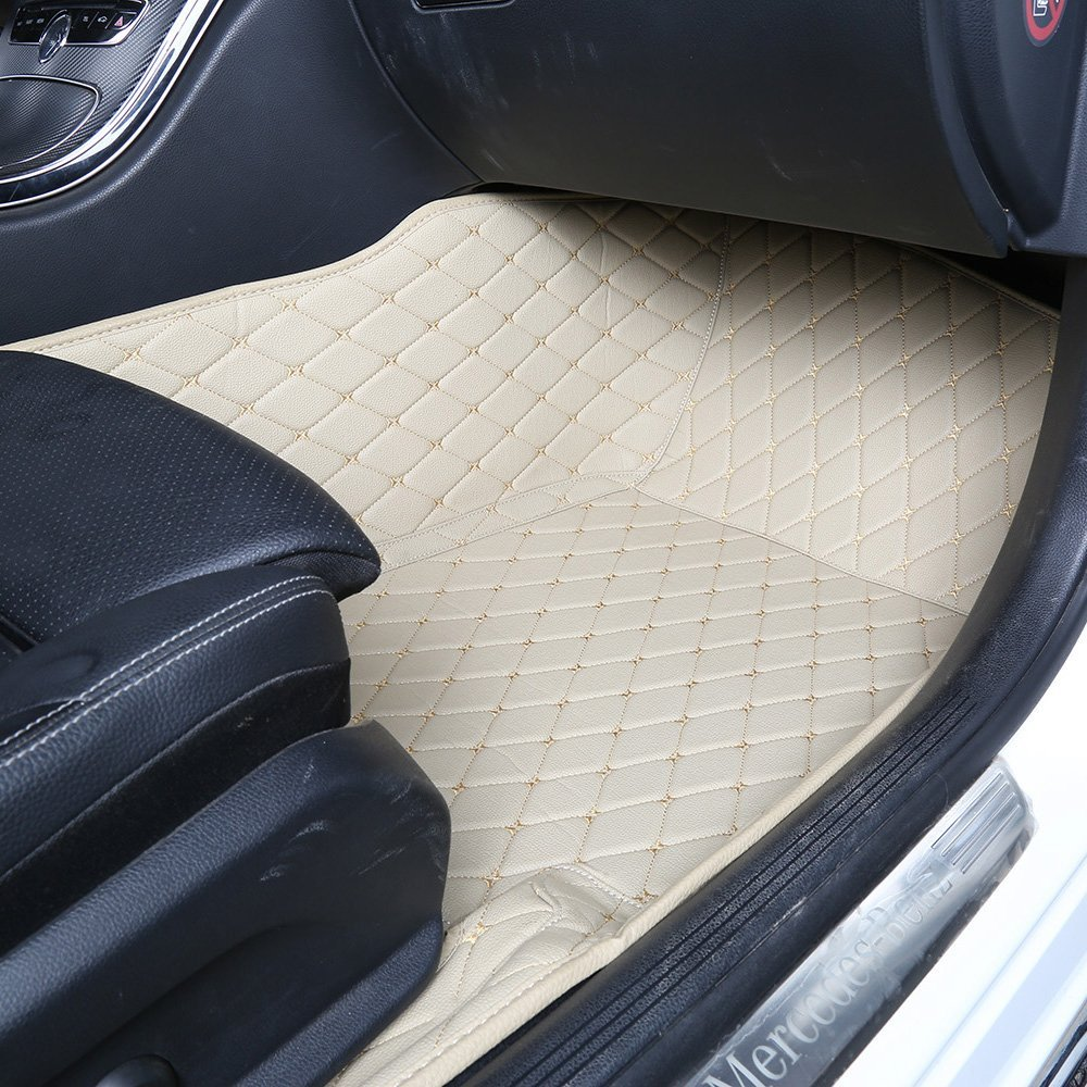 Beige Worth-Mats Custom Fit Luxury XPE Leather Waterproof Floor Mat for Lexus RX200t RX350 RX450h 2011-2019