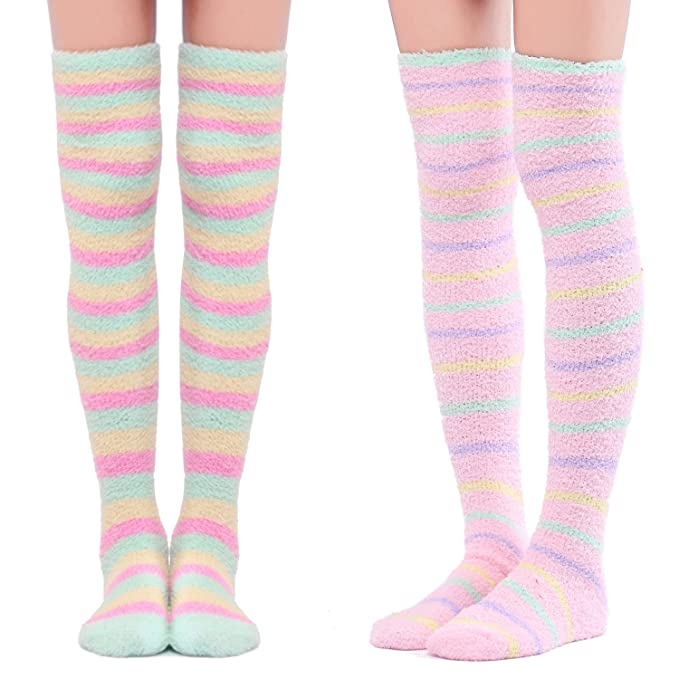 1336bfea60c Littleforbig Cute Coral Fleece Thigh High Long Striped Socks 2 Pairs ...