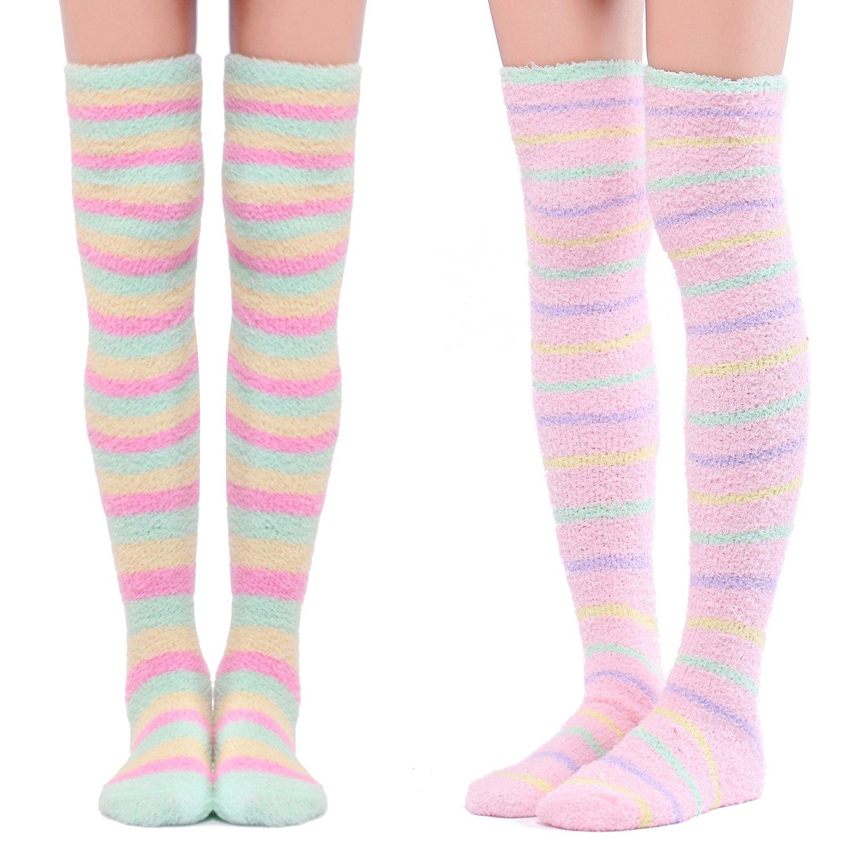 Littleforbig Cute Coral Fleece Thigh High Long Striped Socks 2 Pairs