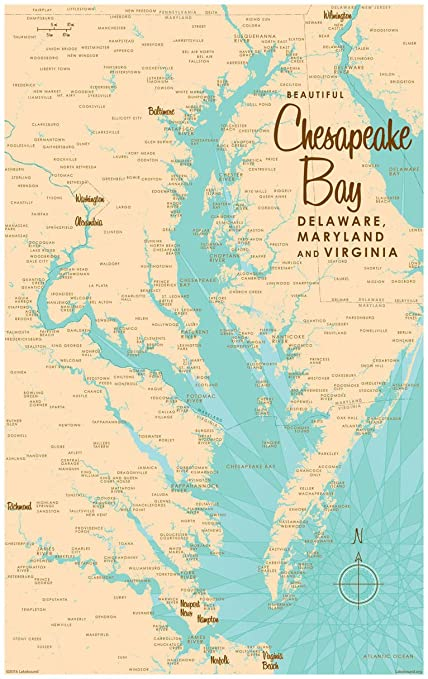 Amazon.com: Chesapeake Bay MD Virginia Map Vintage-Style Art Print ...