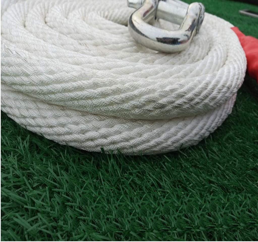 Size : 5M Corde de remorquage corde de remorquage la cin/étique de r/écup/ération de c/âble de polyester /à haute r/ésistance blanc tricot/é de traction x 5 m 5 tonnes manille Corde de remorquage lourde