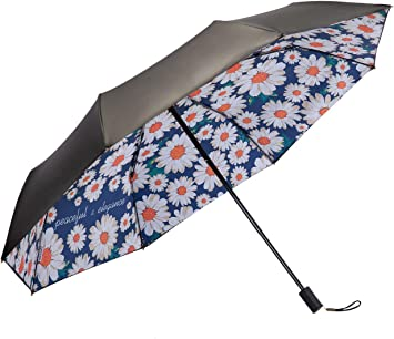 Black Compact Travel Umbrella,Windproof Canopy Frame,Lightweight Folding Umbrella for Sunblock,UV Protection,Fast Drying