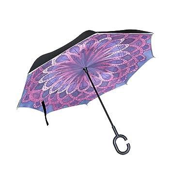 coosun morado flores mandala doble capa paraguas invertido Reverse paraguas para coche y uso al aire