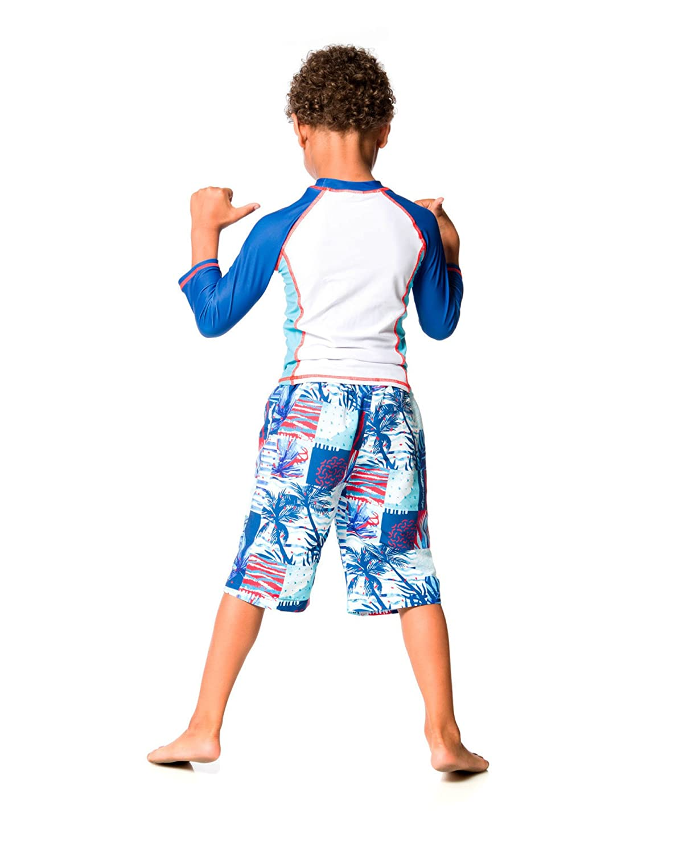 Sizes 2-10 Deux par Deux Boys Rash Guard T-Shirt with Bear Print Playa Del Mar