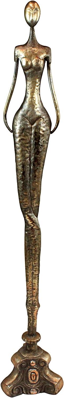 Design Toscano Thin Woman Surrealist Avant-Garde Modern Statue, Pewter