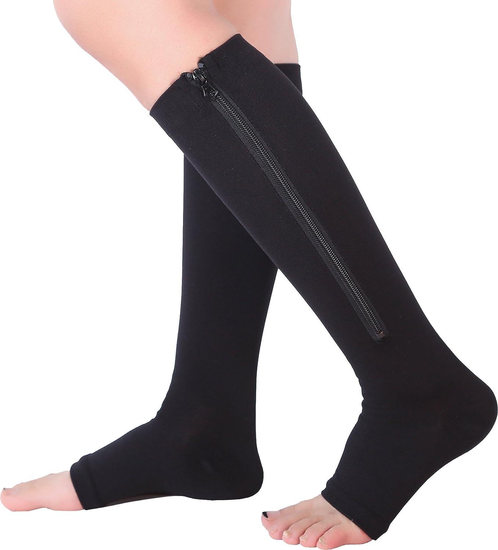 c213b5bd57 Amazon.com: 2 Pairs Open Toe Knee Length Zipper Compression Socks 15-20  mmHg Support 3 Size: Clothing