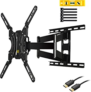 "TV Wall Mount TV Bracket,FORGING MOUNT FM9381-B Full Motion Dual Articulating Arms for Most 17-60 inch LED,LCD,OLED,Plasma Screen TVs up to 132LBS and VESA 400X400mm-16.5"" Extension Tilt,Rotating"