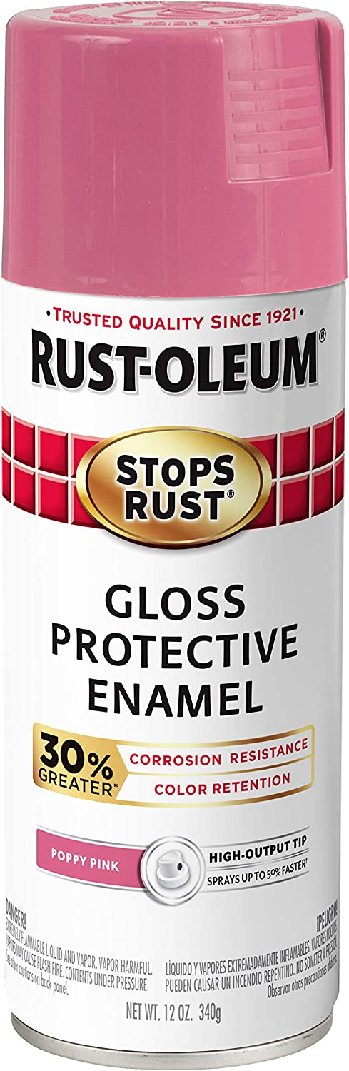 Rust-Oleum 338931 Stops Rust Advanced Spray Paint, 12-Ounce, Gloss Poppy Pink