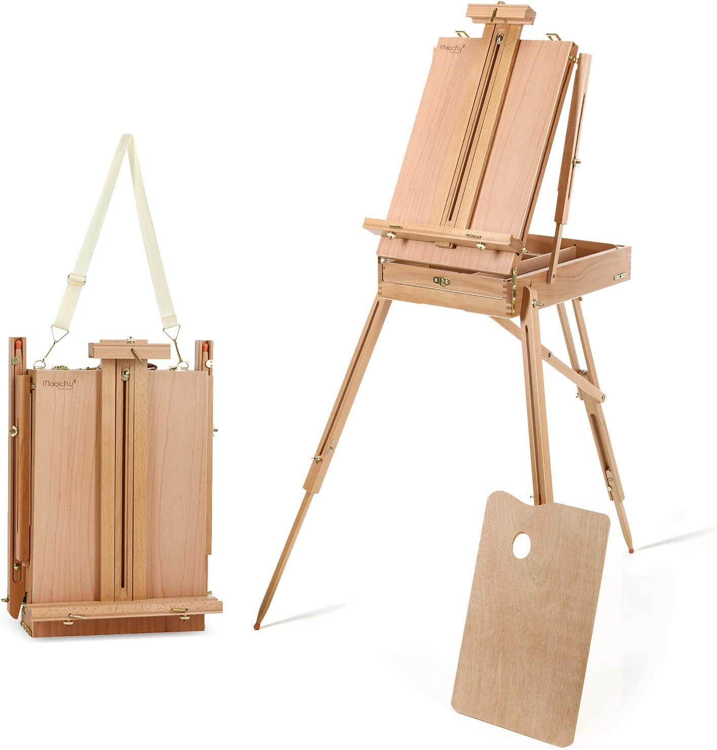 Delta Prime Savings Club - Portable Art Easel with Storage Sketch Box, French Style Adjustable Painting Easel with Wooden Pallete & Shoulder Strap for Painting and Drawing