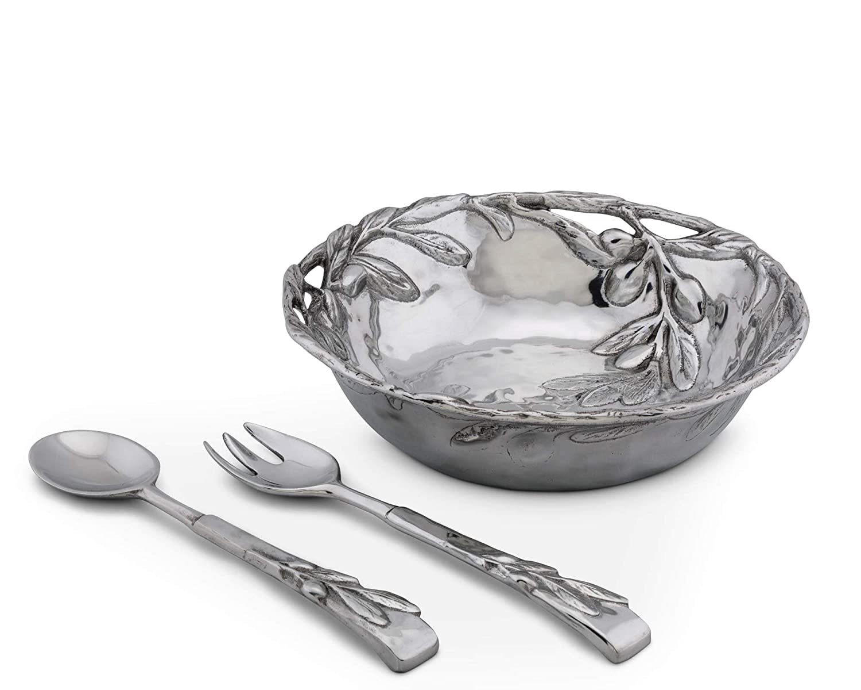 Arthur Court Sand-Cast Aluminum Salad Set; Olive Pattern, 3 pieces, 12