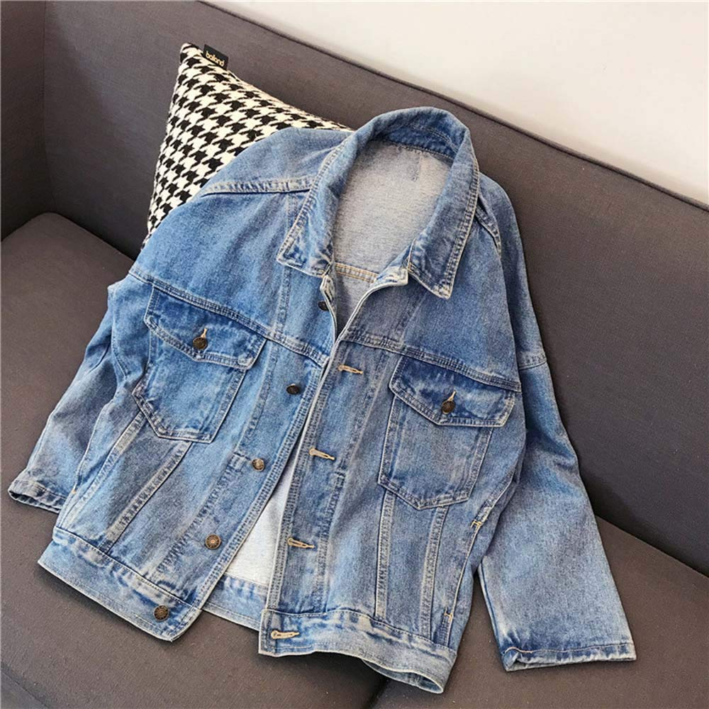 Amazon.com: Women Loose Jeans Coat Autumn Winter Vintage Denim Jacket Long Sleeve Cardigan: Clothing