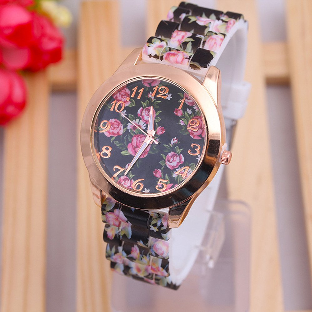 COOKI 2017 Womens Flowers Watches Quartz Female Watches PU Leather Lady Watches-H28