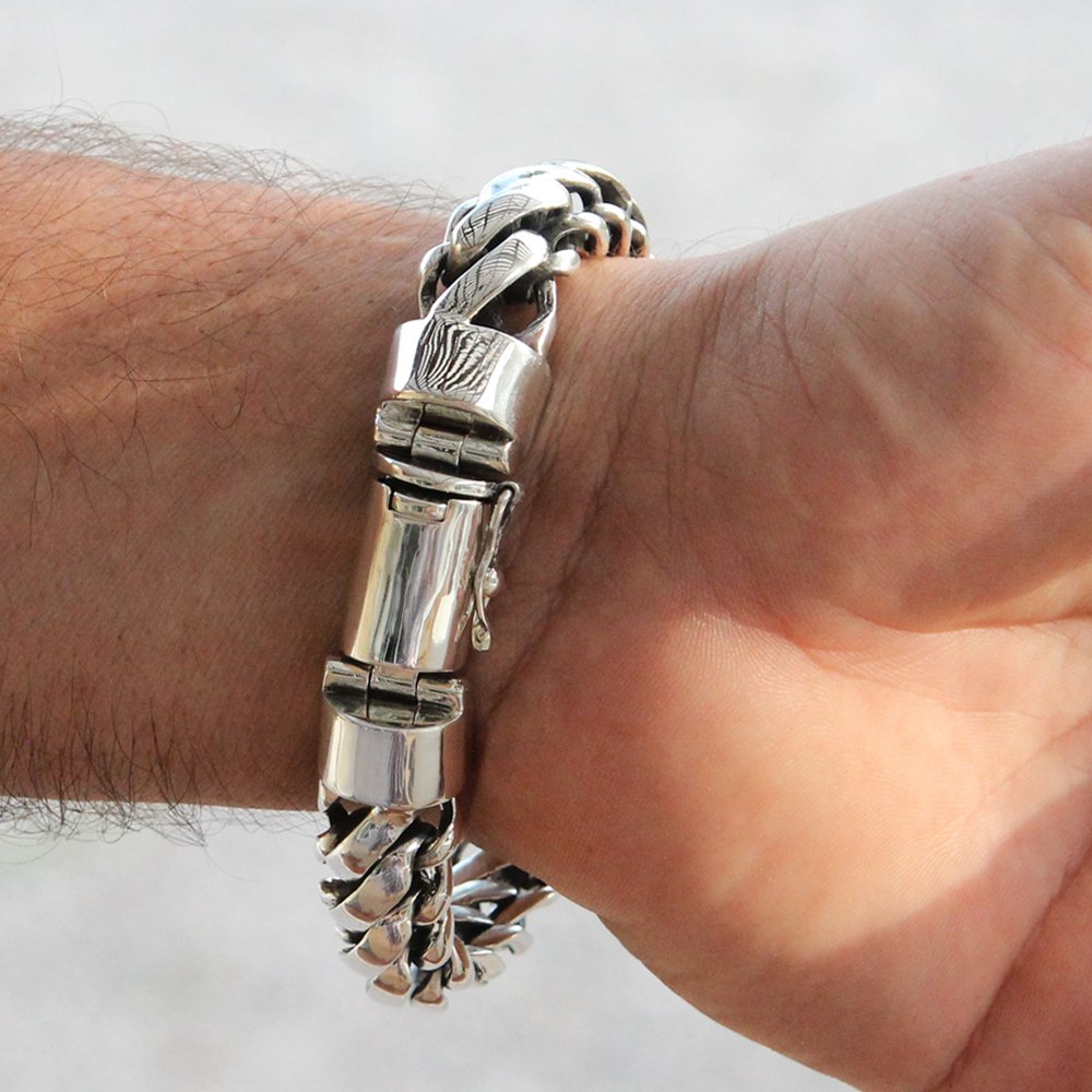 925 Sterling Silver Heavy Round Snake Men Bracelet - Made in Thailand - 9 by VY Jewelry (Image #2)