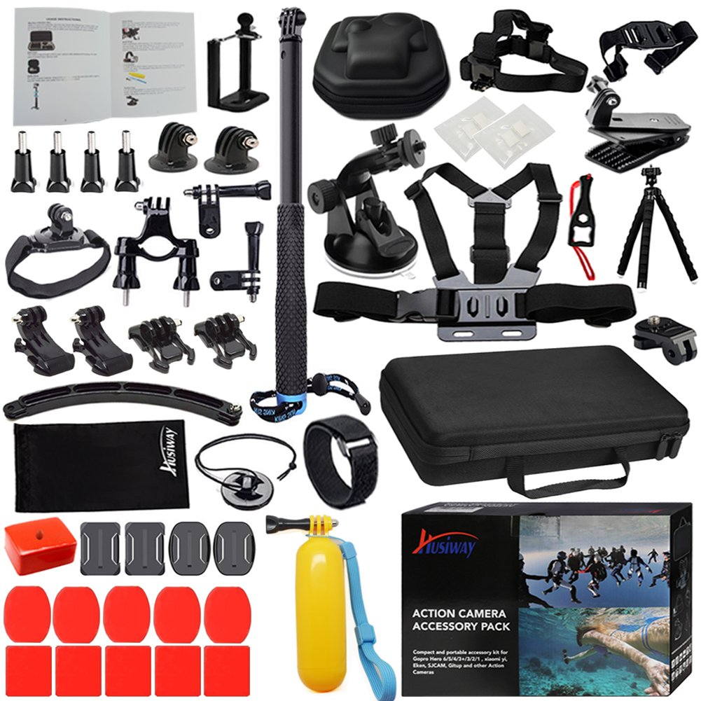 Husiway Accessories Kit for Gopro Hero 5 Session, Hero 6 Black, Xiaomi Yi 4K, Xiaoyi, Sony Accessory Bundle Most Complete set with EVA Carry Case for Go pro 5, 4, 6, Campark, Eken Sport Action Camera