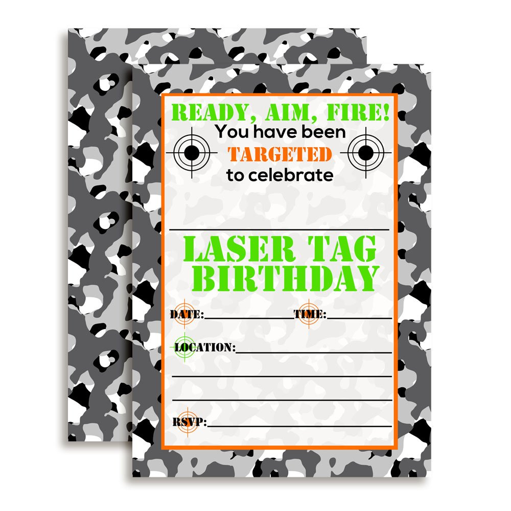 Amazon.com: Camouflage Laser Tag Birthday Party Invitations, Ten 5 ...