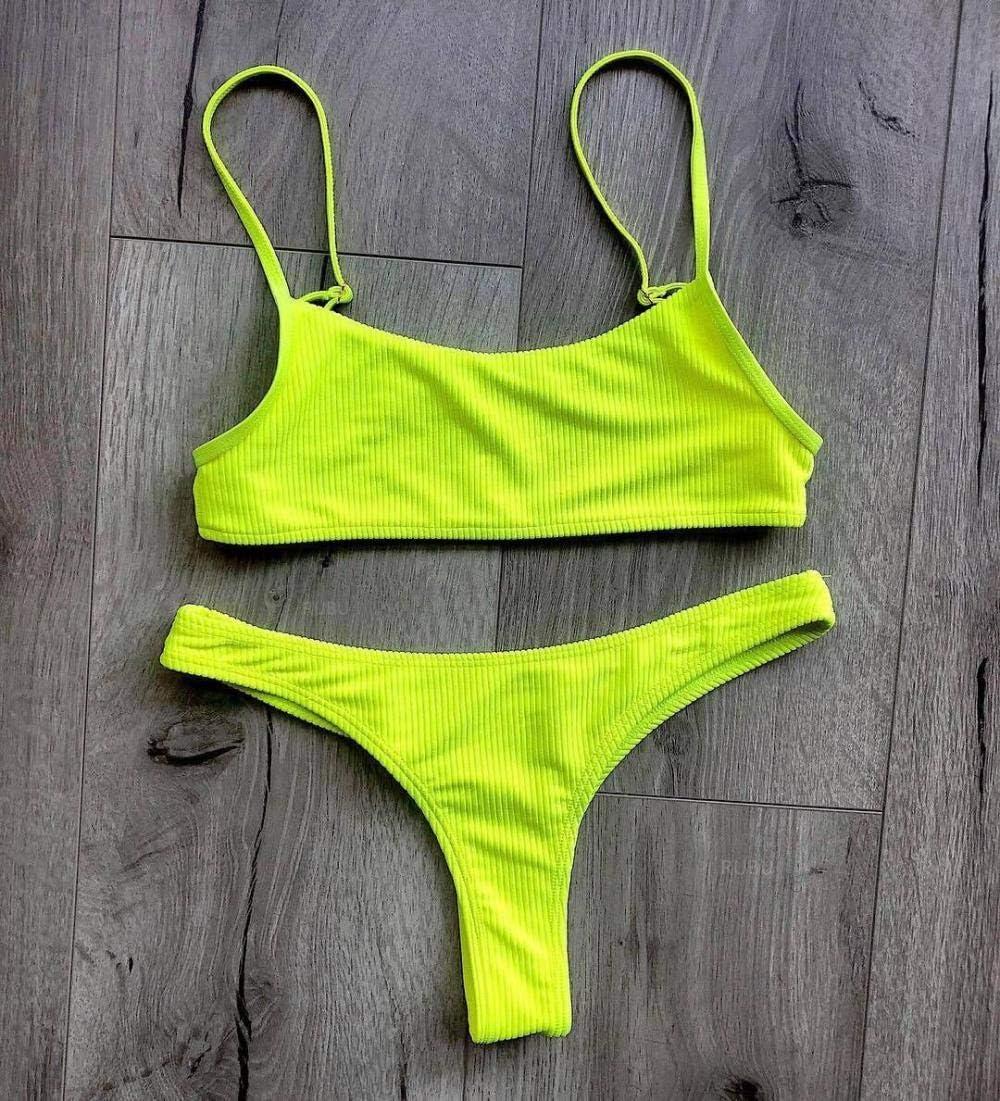 Neon Yellow Green Swimsuit Women Push Up Padded Micro Bikini Brazilian Summer Beach Bathing Suit Thong Swimwear Biquini,Green,M