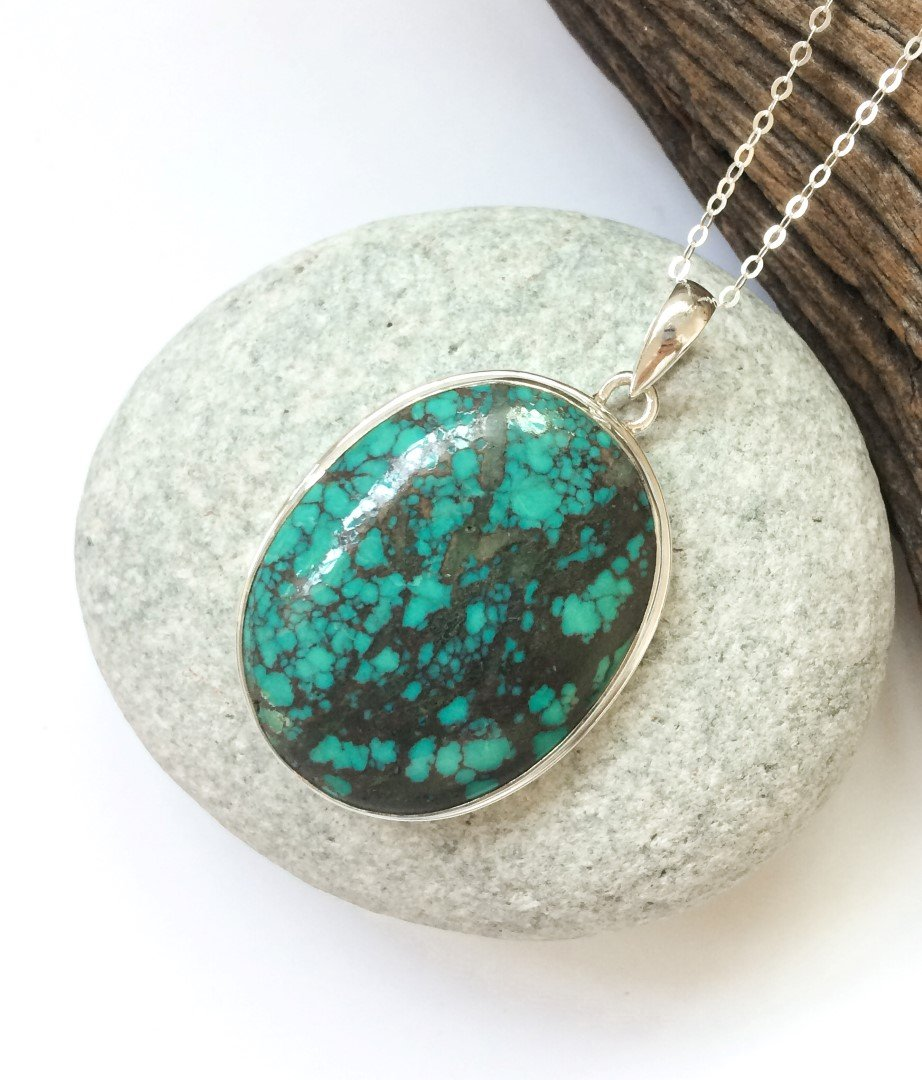 personal protection amulet Beautiful Tibetan Turquoise pendant set in sterling silver