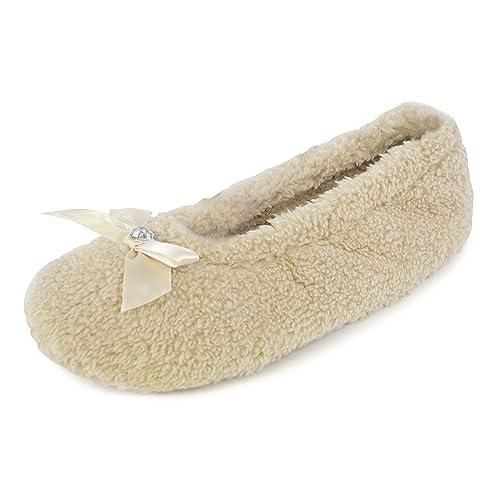 Zapatillas para mujer y niña, con lazo, color rosa, crema, negro, marrón o rojo, tallas 35,5-37, 38-39 y 40,5-42: Amazon.es: Zapatos y complementos