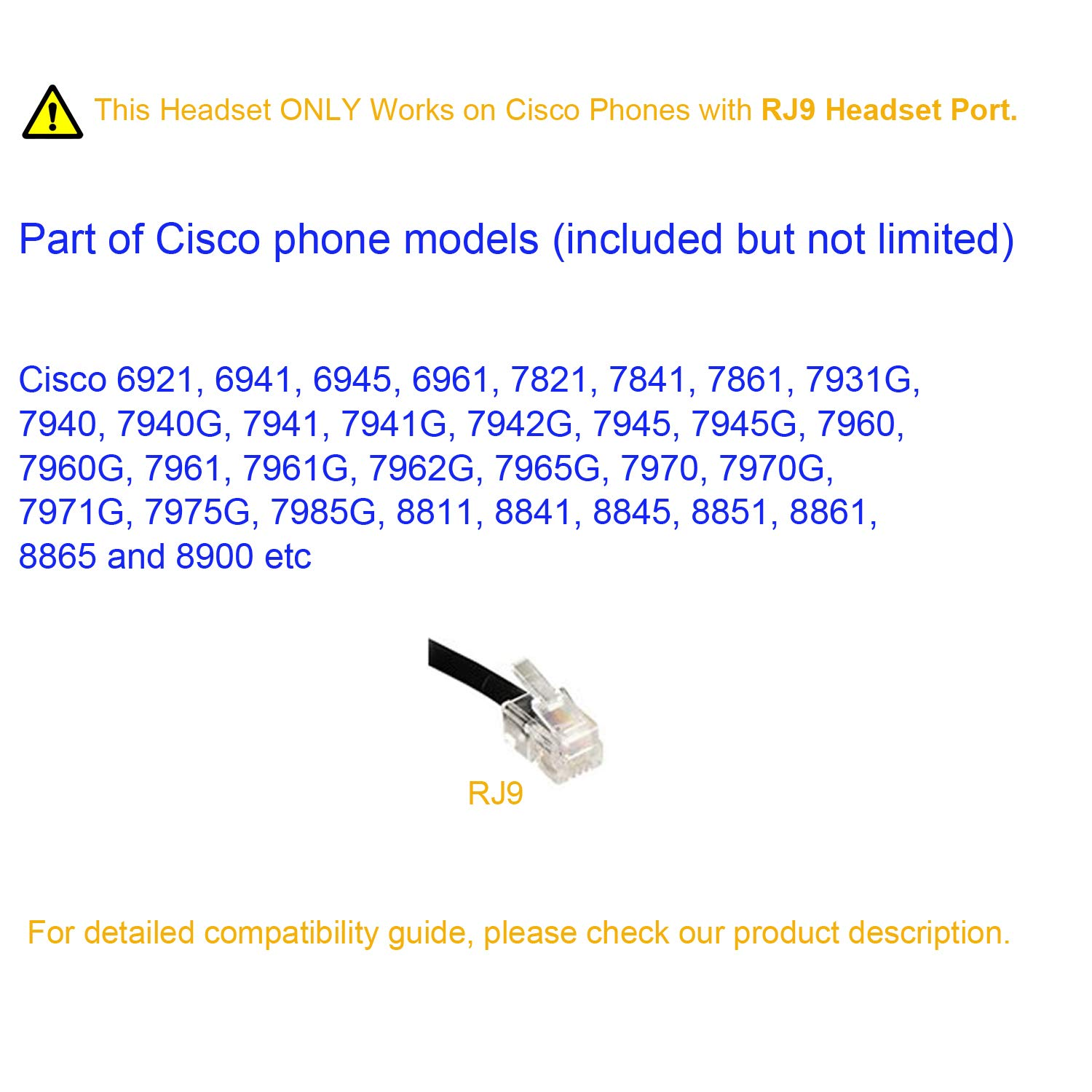 Cisco Rj9 Wiring Diagram Library 2008 Ford Taurus Limited Heatseat Fuse Box Amazoncom Headset Dual Ear Landline With Microphone For Ip Phone